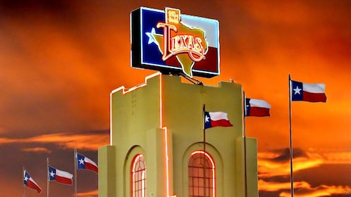 Brightly lit sign at the Billy Bob's Texas in Dallas