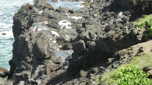 Large rocks and tide pools along the coast in St Kitts