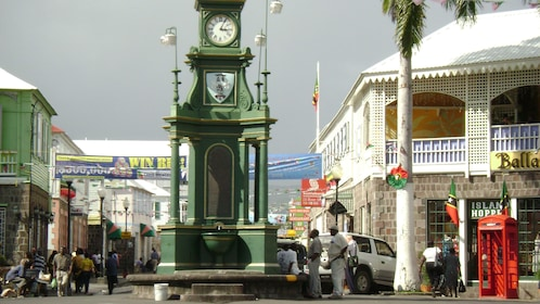 Clock tower in the center of downtown Basseterre in St Kitts