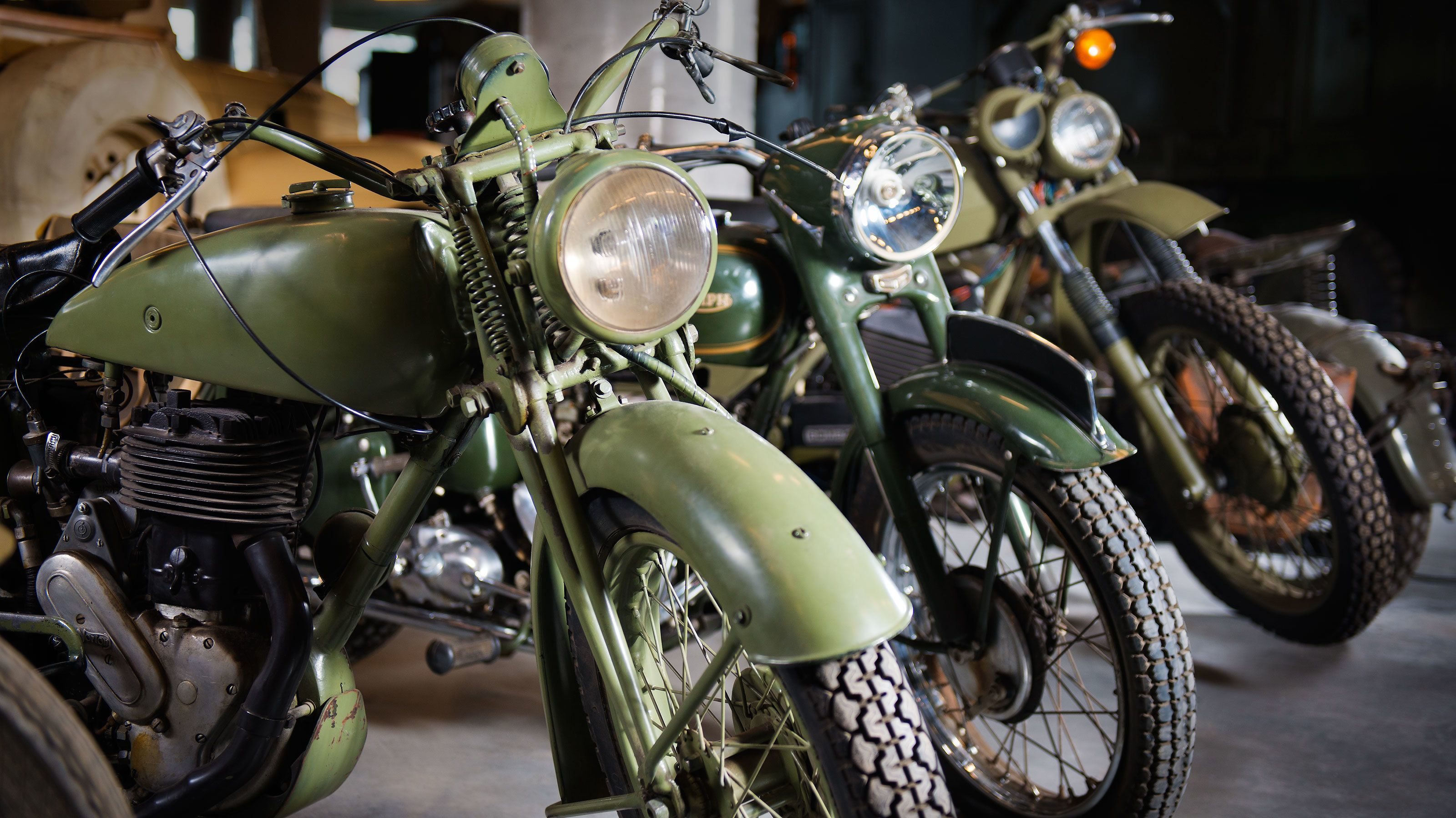 Vintage military motorcycles at the Canadian War Museum in Ottawa