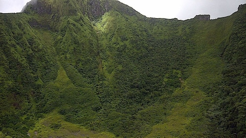 View of lush green mountain in St Kitts
