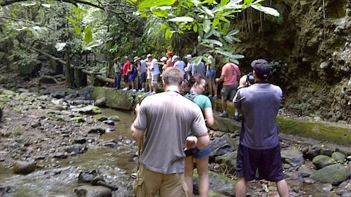Hiking group crossing a stream on the way to the top of Mount Liamuiga in St Kitts