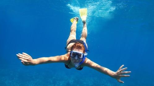 Snorkeling woman in St Kitts