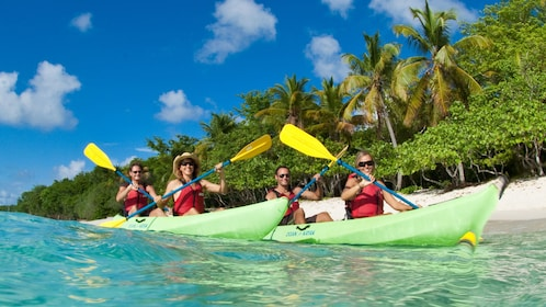 Group kayaks around St. John