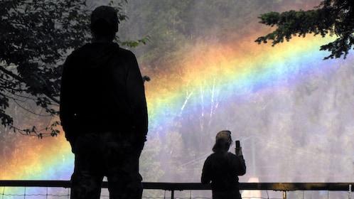 Rainbow greets tourists at Canyon Sainte-Anne