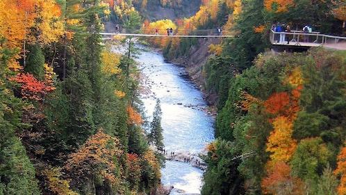 Hikers cross suspension bridges over the Sainte-Anne-du-Nord River in Canada