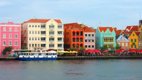 Multicolored buildings on the waterfront in the Caribbean