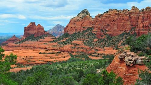 Red rock cliffs overlooking the desert landscape in Arizona