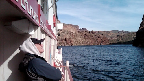 Gentleman enjoying the scenic view from the Dolly steamboat on the Apache Trail in Arizona