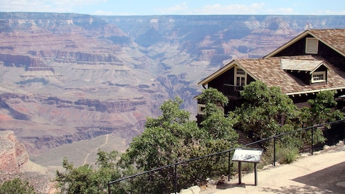 Post overlooking the Grand Canyon