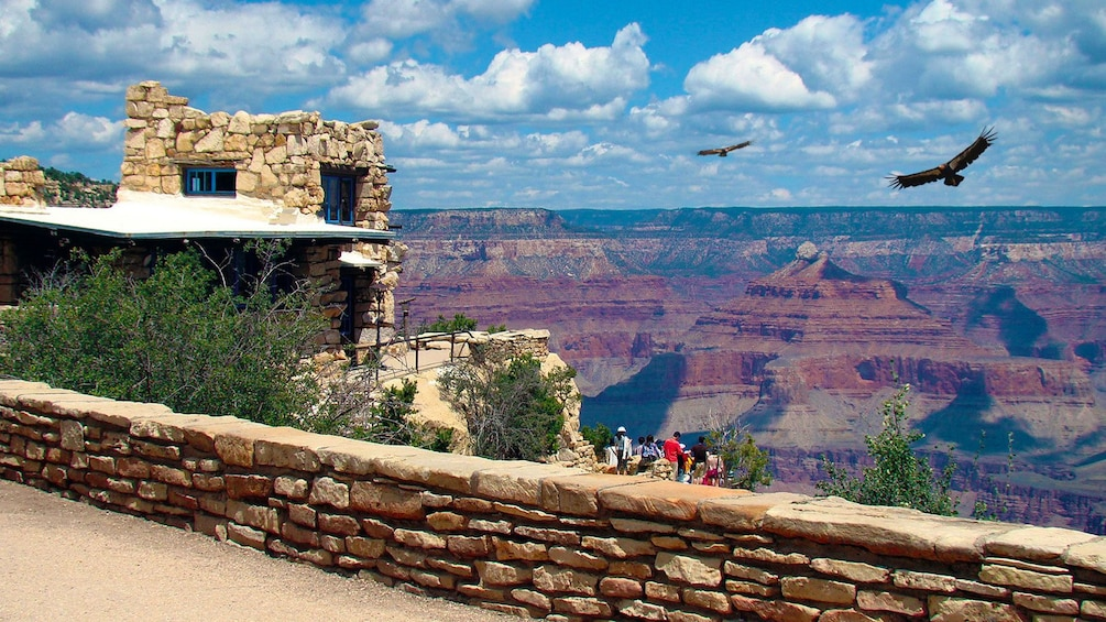 Show item 2 of 5. View of a tour group enjoying a view of the Grand Canyon