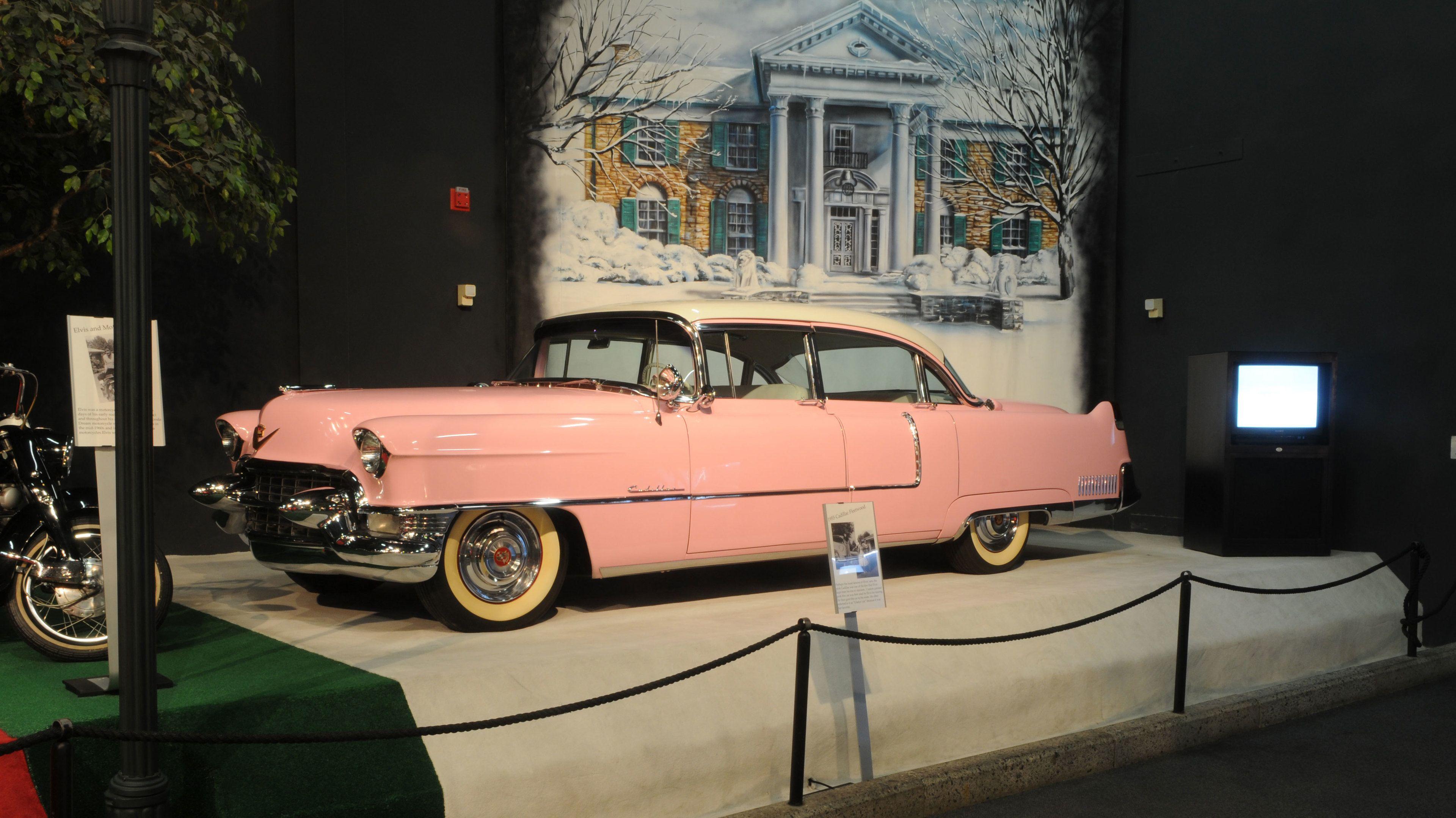 pink car at graceland in memphis