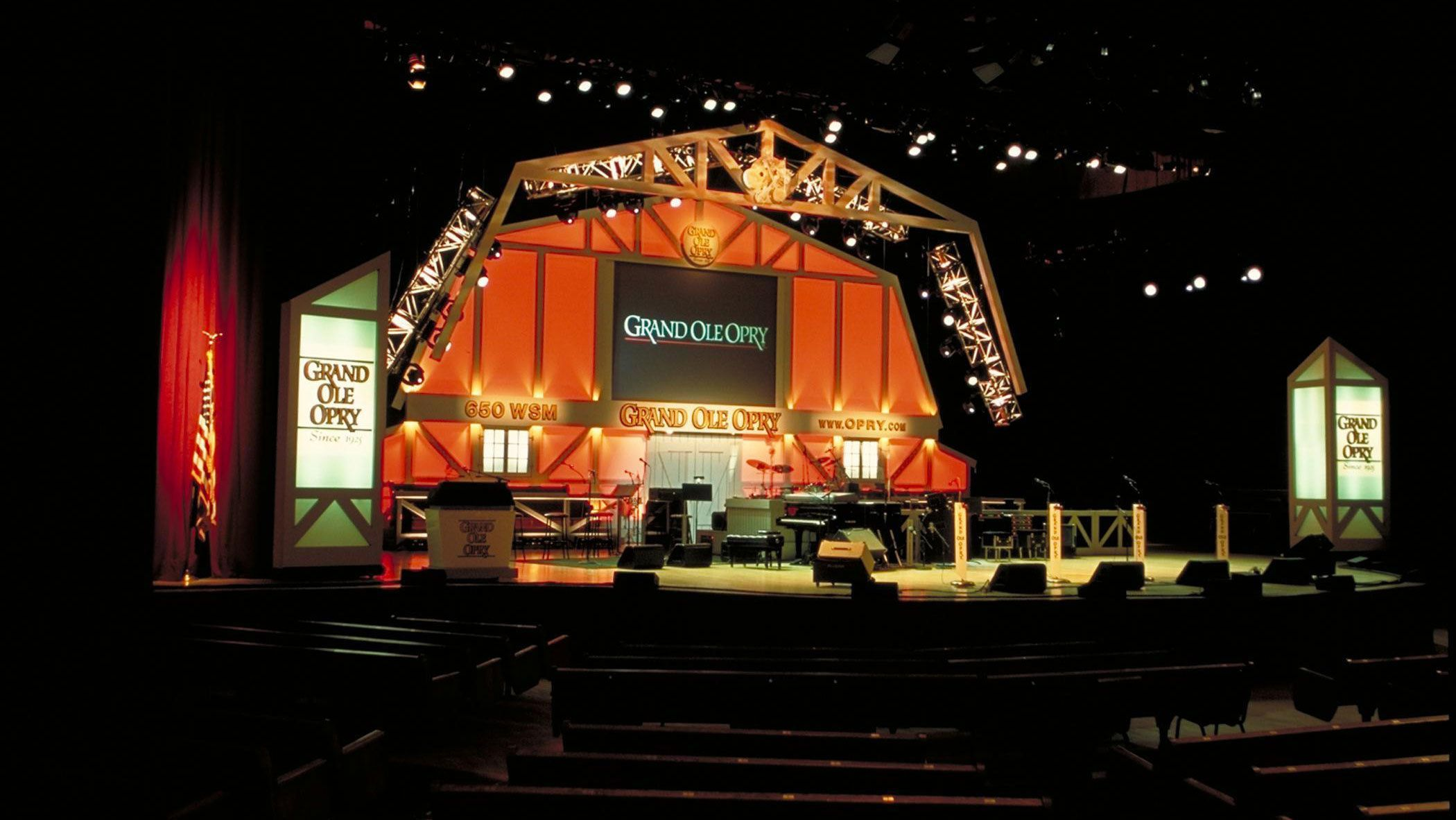 Set up stage at the Grand Ole Opry House in Nashville