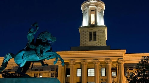 The Tennessee State Capitol building at night in Nashville