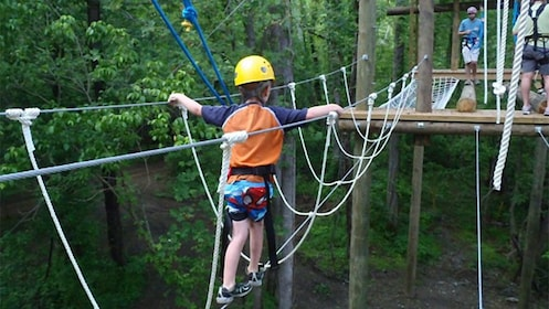 Child walking through a ropes bridge during a ropes course in the heart of the Smokey Mountains