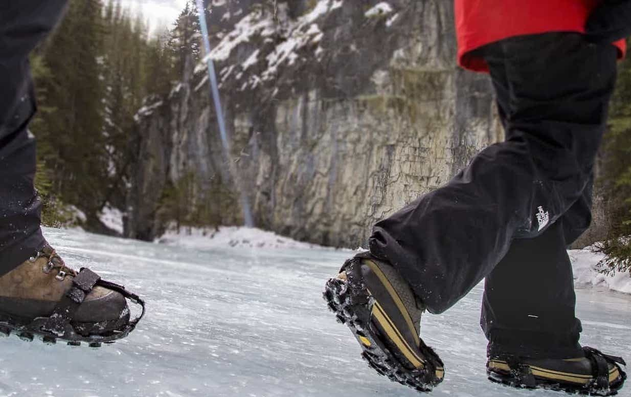 Wear comfortable ice cleats over your winter boots on the Grotto Canyon Icewalk.jpg