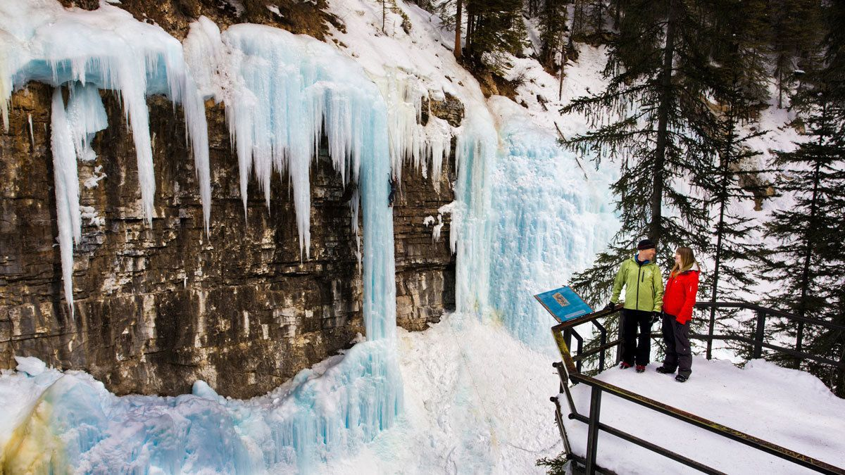 Walk right up to the Johnston Canyon ice caves in Banff National Park