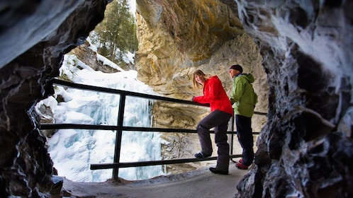 Couple explores the Johnston Canyon Ice Caves