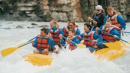 Close view of group rafting on the Athabasca River
