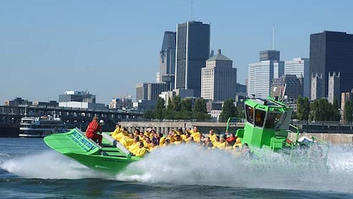 Special speedboat races along the ST. Lawrence River with downtown Montreal in the background