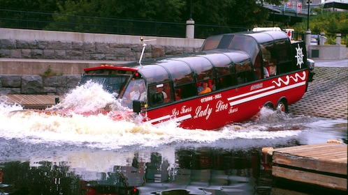 Amphibious bus splashing into the Ottawa River