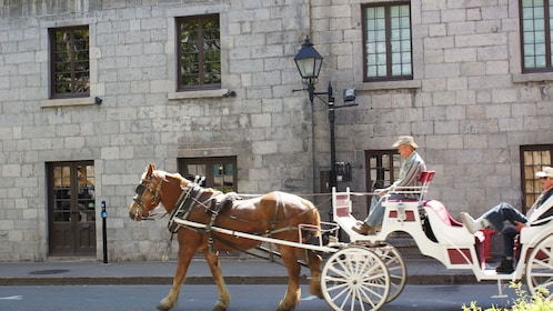 Horse-drawn carriage riding though the streets of old town Montreal