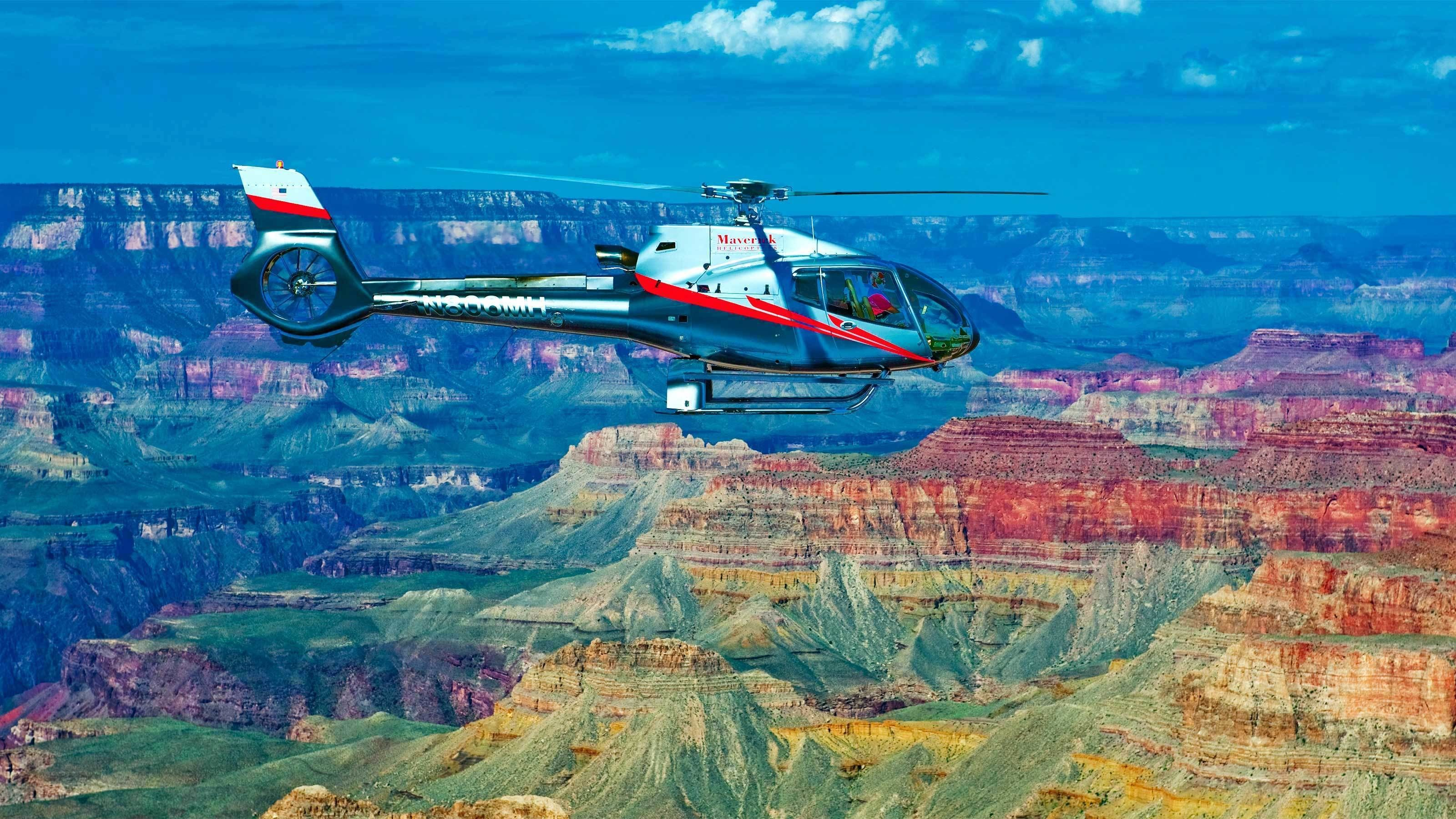 Fabulous view of the Grand Canyon as a helicopter flies by