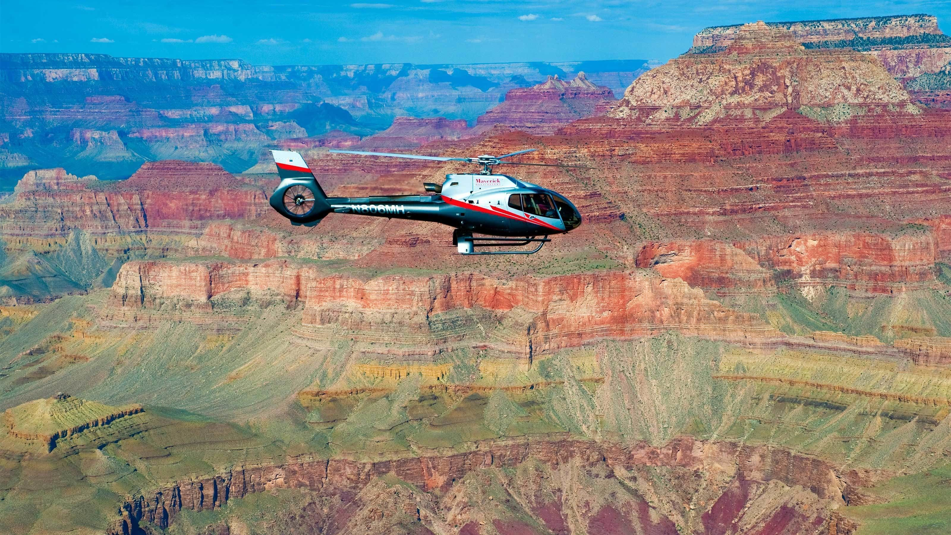 Helicopter flying above the Grand Canyon