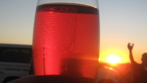 Enjoy a glass of wine before departing off on a hot air balloon