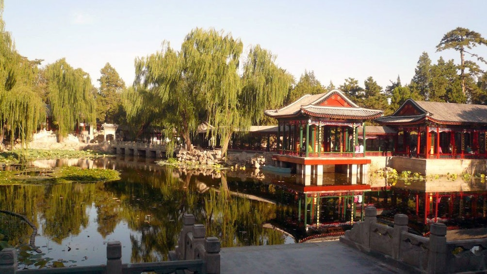 正在顯示第 1 張相片,共 5 張。 Historic structures around a still pond in Beijing