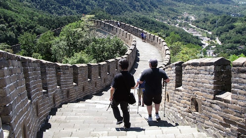 Visitors hiking down the Great Wall in Beijing