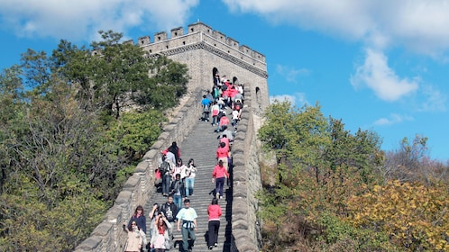 Crowded walkway of the Great Wall in Beijing