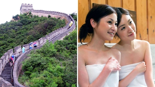 Combo image of Great wall of China and woman enjoying Jiuhua Spa