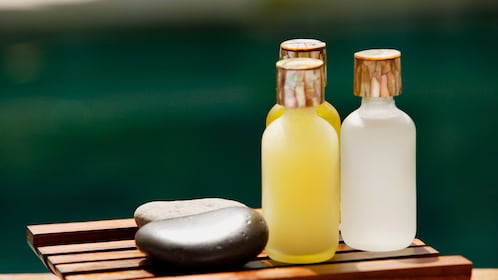 Essential oils and massage rocks at Jiuhua Spa in Beijing
