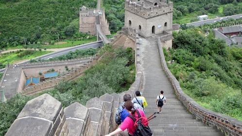 Walking down the steps of the Great Wall in Beijing