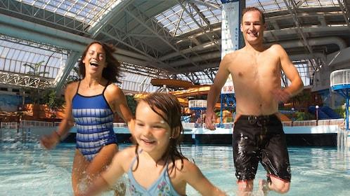 Family enjoying the indoor water park in Edmonton