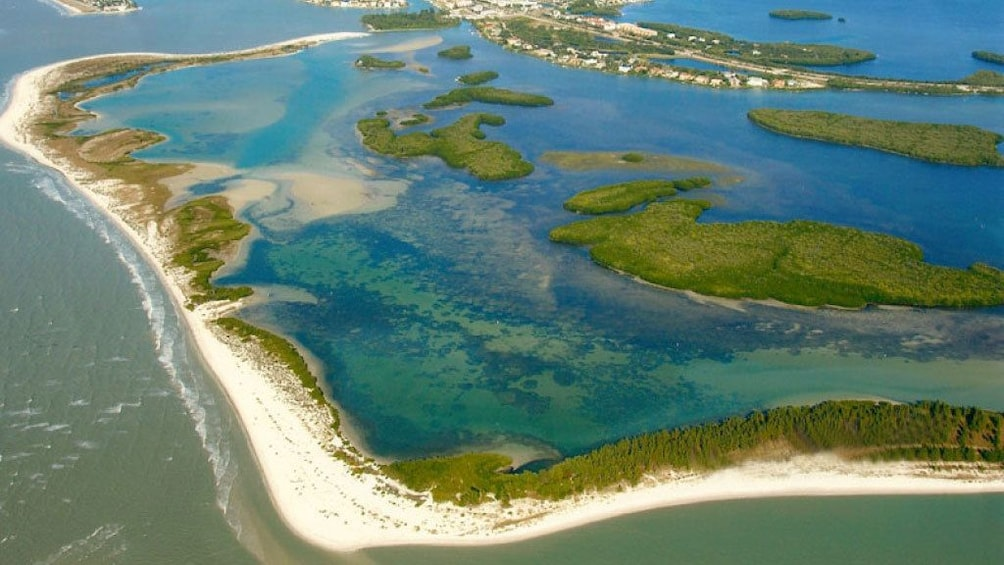 Aerial view of Shell Key Island, a 1800 acre nature preserve