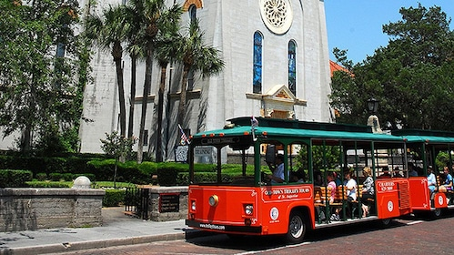 Trolley pitstop at the Cathedral Basilica in St. Augustine