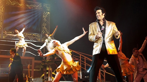 Man dressed as Elvis performing at the Celebrity Tribute Show in Myrtle Beach