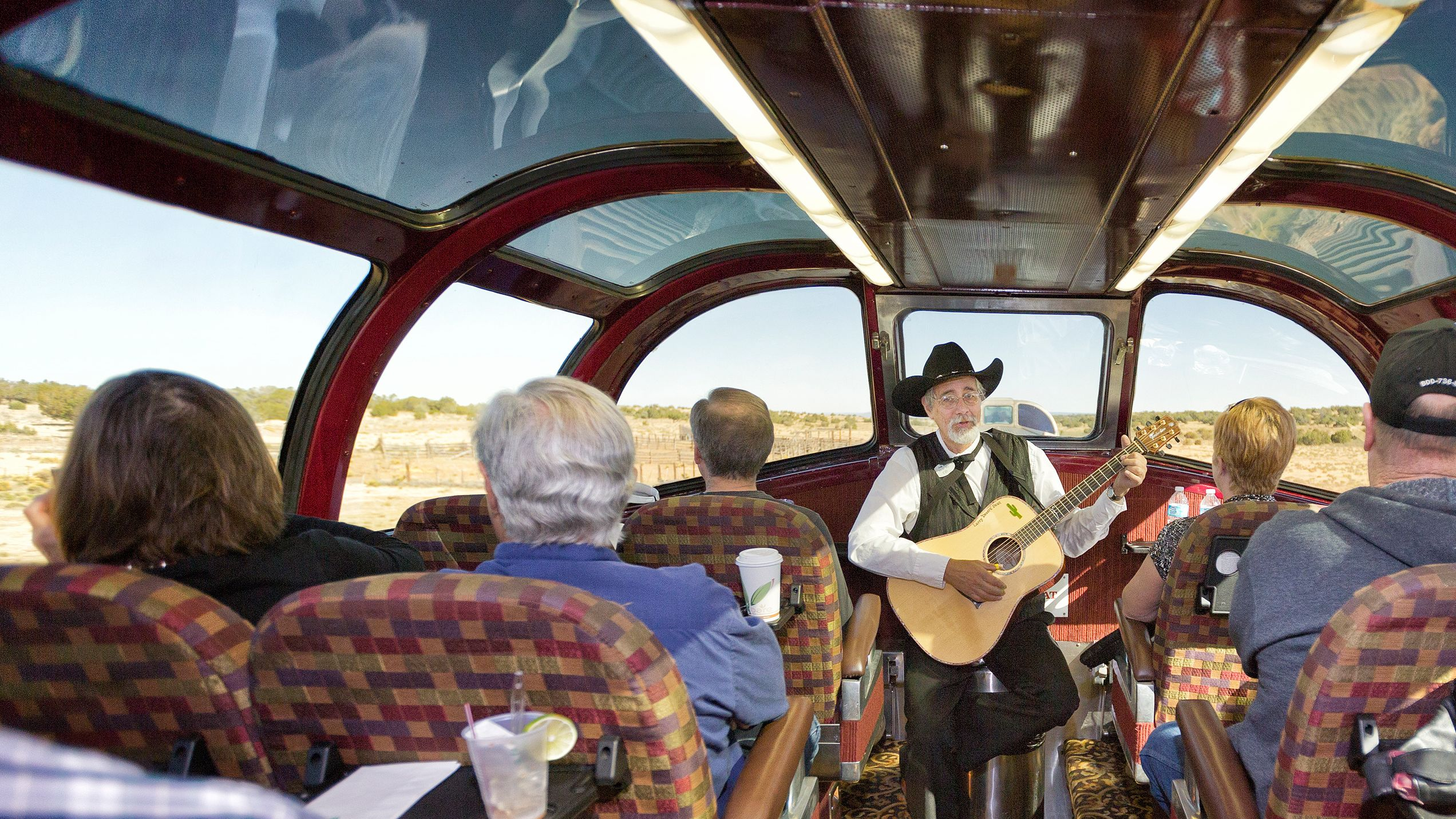 Aboard the train at the Grand Canyon Railway