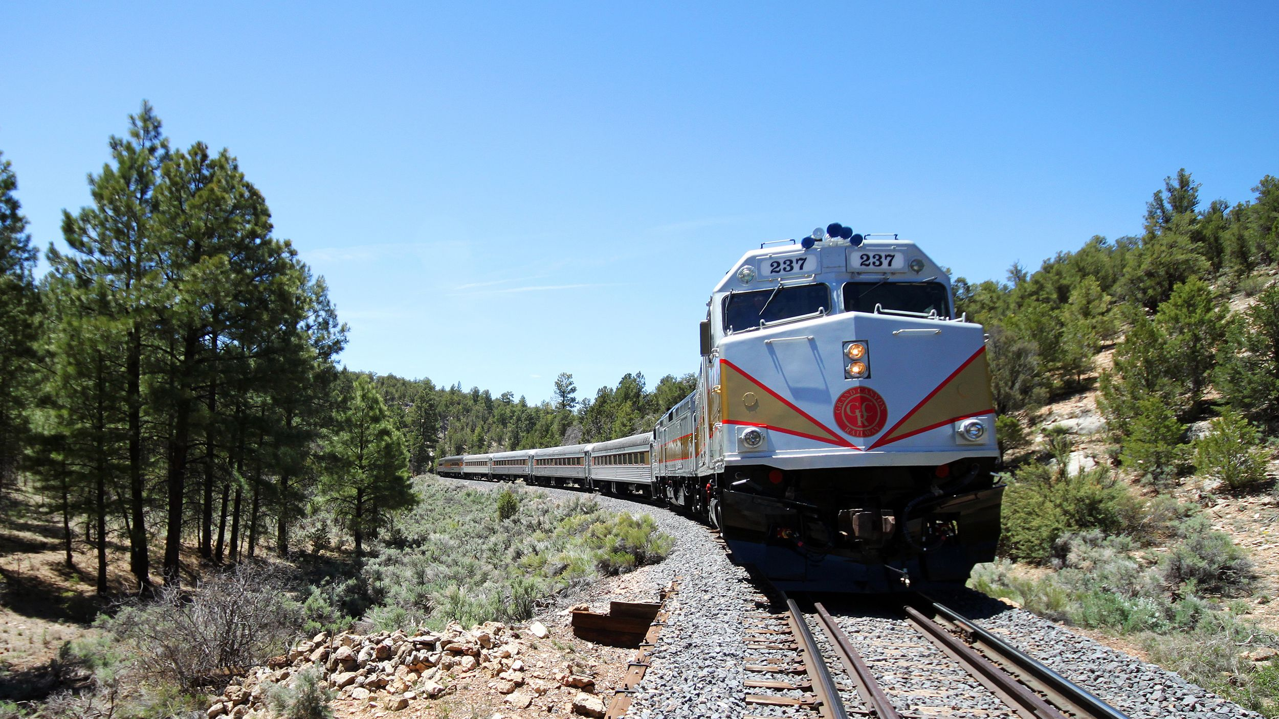 Train traveling through a forested region along the Grand Canyon Railway