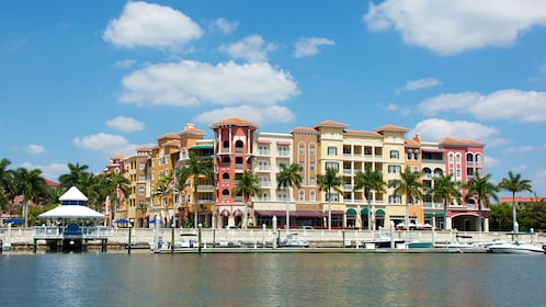 Pastel colored buildings on the Naples waterfront
