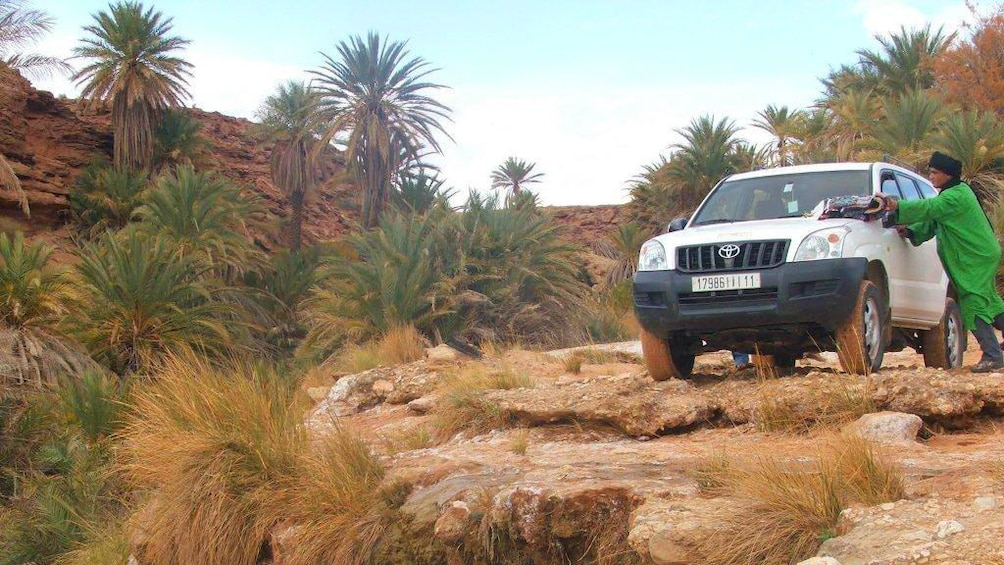 Charger l'élément 3 sur 5. Jeep parked on a cliff surrounded by red rocks and palm trees in Marrakech