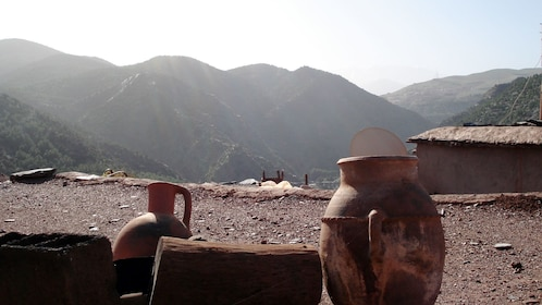 Pottery in a Berber Village with a view of the mountains in Marrakech