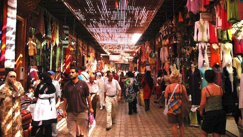 Bustling marketplace in Marrakech