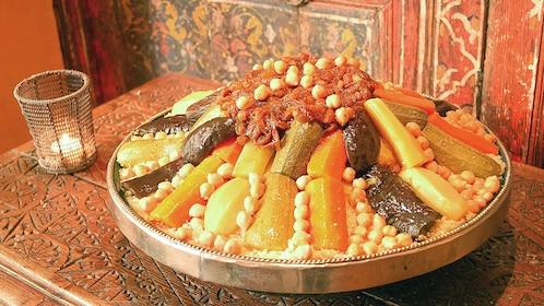 Plate of traditional Moroccan food in Marrakech