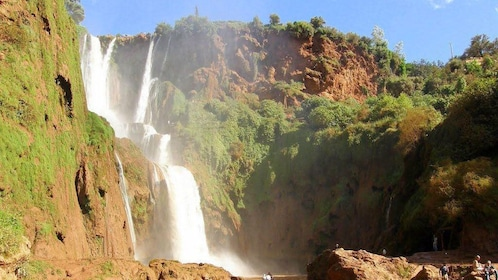 Tiered waterfall and pool in Ouzoud Falls near Marrakech