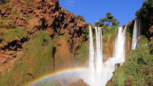 Waterfalls and rainbow in Ouzoud Falls near Marrakech