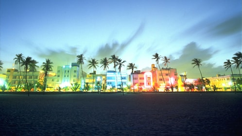 South Beach lit up at night in Miami.