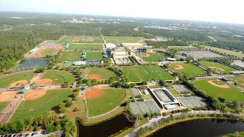 View from a helicopter flying over parks in Orlando.